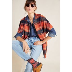 New Anthropologie Annie Plaid Wool Blend Capelet